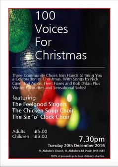 Promo poster for 100 Voices for Christmas at St. Aldhelm's Church, Poole